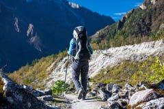 Trekker in lower Himalayas. Beautiful Trekker in lower Himalayas Royalty Free Stock Image