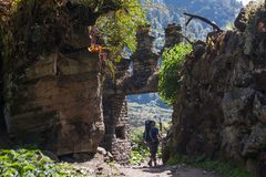 Trekker in lower Himalayas. Nepal Stock Photo