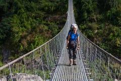 Trekker in lower Himalayas. Nepal Stock Image