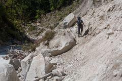 Trekker in lower Himalayas. Nepal Stock Photos