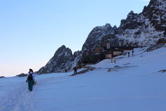 Trekker in Mala Studena dolina valley, High Tatras Stock Image