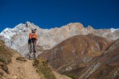 Trekker on Manaslu circuit trek in Nepal Stock Images