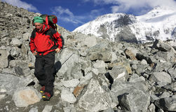 Trekker in montagne di Altai, picco di Belukha Fotografia Stock
