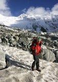 Trekker in montagne di Altai, picco di Belukha Immagine Stock Libera da Diritti