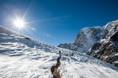 Trekker no vale de Khumbu em uma maneira ao acampamento base de Everest imagem de stock