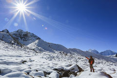 Trekker nubche summit  beside of everest from everest trek Royalty Free Stock Photography