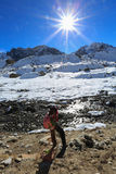 Trekker nubche summit  beside of everest from everest trek Stock Photography