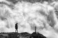 Trekker on Pico volcano, Azores Archipelago royalty free stock images