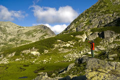 Trekker in Retezat Fotografia Stock