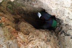 Trekker in rock shaft, Wildenauersteig, Hohe wand Stock Image