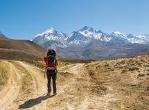 Trekker seul sur un carrefour de deux routes vers des montagnes photo stock