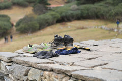 Trekker shoes  from everest trek route Royalty Free Stock Image