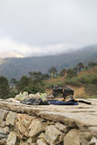 Trekker shoes  from everest trek route Stock Image