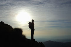 Trekker silhouette. West alps, Italy Royalty Free Stock Photo