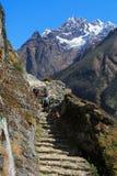Trekker and thamserku peak from everest trek Stock Image