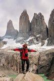 Trekker in Torres Del Paine royalty-vrije stock fotografie