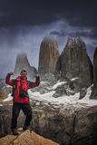 Trekker at Torres Del Paine Royalty Free Stock Photo