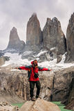 Trekker at Torres Del Paine Royalty Free Stock Photography