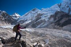Trekker trek on everest base camp 3 pass on Lobuche to Gokyo ,Nepal on winter stock photos