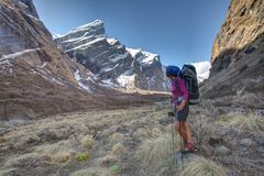 Trekker in the valley on the way to Annapurna base camp, Nepal Stock Photo