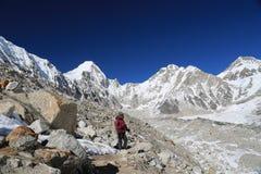 Trekker walk to everest basecamp from everest trek Stock Images
