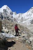 Trekker walk to everest basecamp from everest trek Royalty Free Stock Images