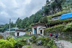 Trekker walk on way to Mt.everest base camp in Khumbu area,Nepal royalty free stock photography