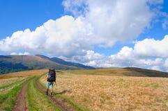 Trekker walking on mountain Stock Photo