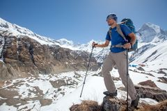 Trekker on the way to Annapurna base camp, Nepal Stock Photography