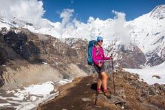Trekker on the way to Annapurna base camp, Nepal Royalty Free Stock Photos