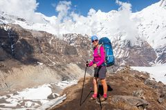 Trekker on the way to Annapurna base camp, Nepal Royalty Free Stock Photography