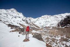 Trekker on the way to Annapurna base camp, Nepal Stock Photography