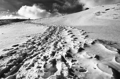 Trekker in winter Stock Photos