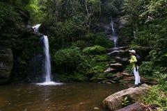 Trekker woman rain forest national park. Trekker woman enjoy rain forest national park stock photos