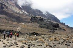 Trekkers на следе на kilamanjaro держателя Стоковая Фотография