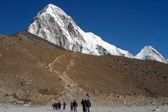 Trekkers. People of the Khumbu Valley - trekkers and Sherpas Stock Photos
