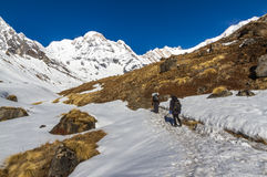 Trekkers in Annapurna Sanctuary Stock Photography