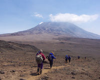 Trekkers At Kilimanjaro Stock Photos