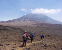 Trekkers bei Kilimanjaro Stockfotos