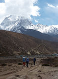 Trekkers bij Everest sleep, Himalayagebergte, Nepal Stock Foto