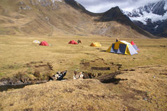 Trekkers campsite and tents Stock Photos
