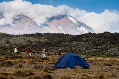 Trekkers, die nahe Lager auf Mount Kilimanjaro gehen Stockfoto