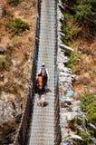Trekkers en kabelbrug met gebedvlaggen Stock Foto