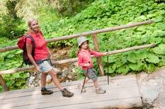 Trekkers - family on trek Royalty Free Stock Images
