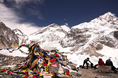 Hikers having rest in Everest base camp Stock Photo