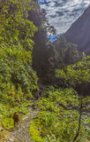 Trekkers hikers ravine Qusilluyoc Cuzco Peru Royalty Free Stock Images