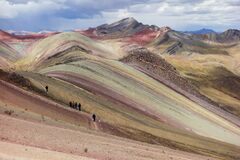 Free Trekkers In Palccoyo Rainbow Mountains, Cusco/Peru Royalty Free Stock Photos - 183773828
