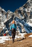 Trekkers are in Khumbu valley on a way to Everest Base camp Stock Photography