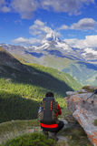 Hikers and matterhorn. Trekkers loking at the matterhorn Stock Photography