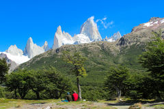 Trekkers looking at Fitz Roy Royalty Free Stock Photos